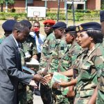 Some soldiers receiving the Bibles during the event